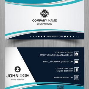 CARTÃO DE VISITA 1.19 - Modern-business-card-with-turquoise-wavy-shapes-rec